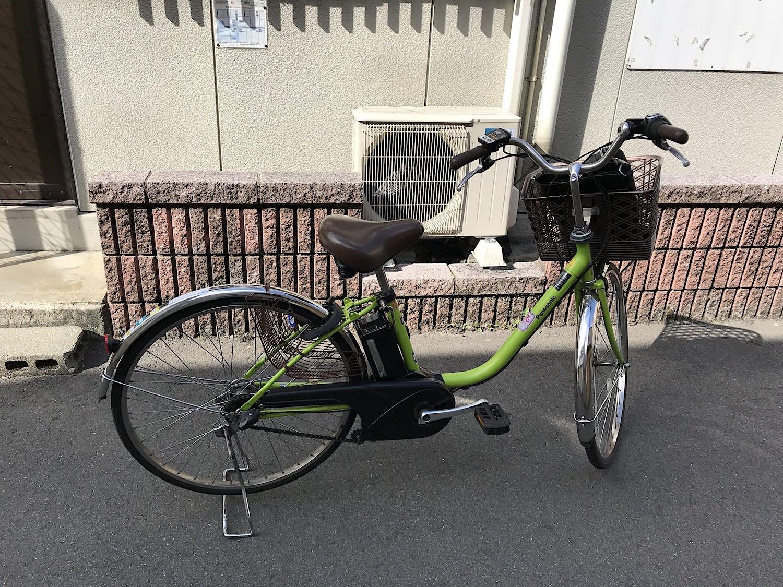 レンタサイクルで借りた電動自転車の写真