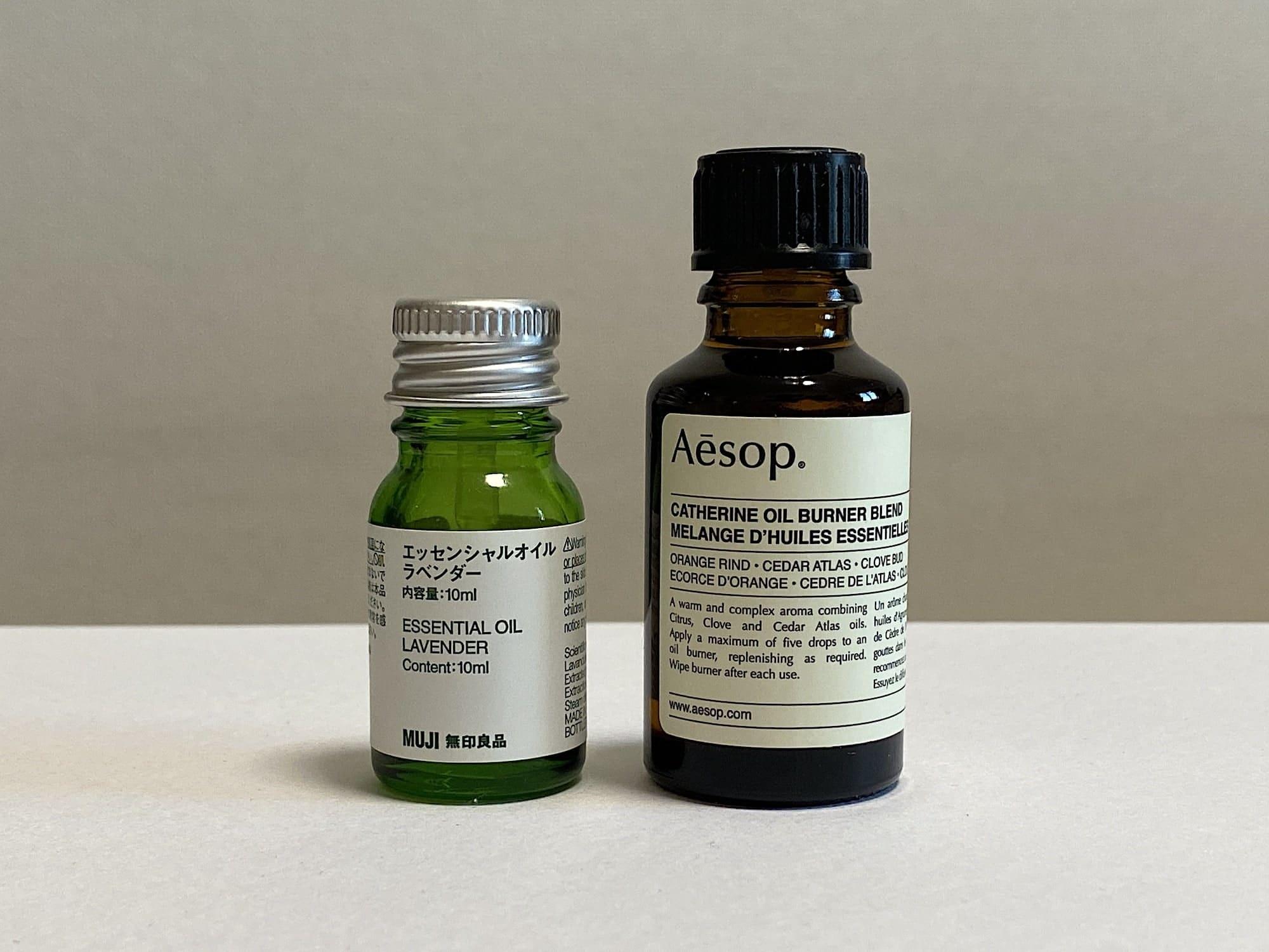 イソップのアロマオイル「カトリーヌ」と無印良品のアロマオイルを比べてみた様子